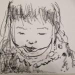 <僕のアート> うつむいてぬり絵をする娘