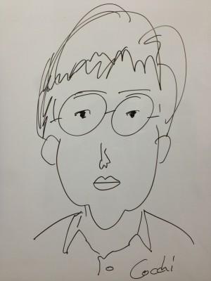 ホワイトボードで自画像を描いてみた (制作時間3分)