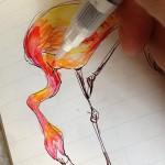 STAEDTLER®(ステッドラー)の水彩色鉛筆で「フラミンゴ」を描いてみた