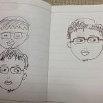 自分の似顔絵が描けない(-_-) →奥さんとの「合議制」で解決(^o^)