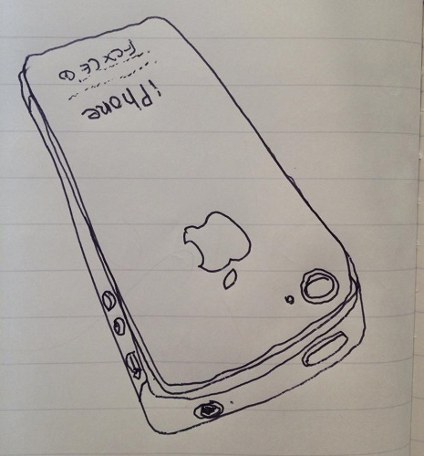 「iPhone」 を1本の線で勝負する描き方でスケッチしてみる (過去のFacebook投稿より)