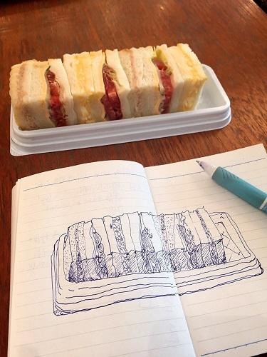 【ボールペンでスケッチを】 「浅野屋のサンドウィッチ」 @東京ミッドタウン